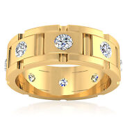 Solid 18k Yellow Gold Ring 0.88 Ct Real Diamond Wedding Menand039s Band Size 9 11 12