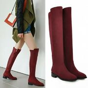 Womens Stretch Leg Over The Knee Flat Heel Ladies Thigh High Boots 4 Colors Goth