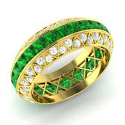 Solid 14k Yellow Gold 3.50 Ct Real Diamond Emerald Gemstone Ring Size 5 6 7 8