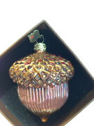 New In Box Jay Strongwater Acorn Ornament Red/gold Crystals