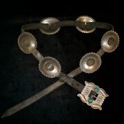 Old Pawn/estate Turquoise And Sterling Silver Navajo Concho Belt