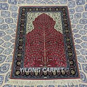 Yilong 2.75and039x4and039 Red Handmade Silk Carpet Family Room Indoor Area Rug Yxr326b