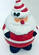 Vtg Roly Poly Santa Claus Bank Striped Hat 7.5 H Christmas Jolly Red Ceramic