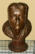 Rare Early 19 Inch Charles Lindbergh Chalkware Bust W/ Wood Base-17.5 Pounds