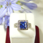 2.20 Ct Natural Diamond Blue Sapphire Gemstone Ring Solid 14k White Gold Band 7