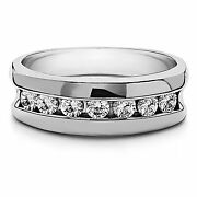 Solid 14k White Gold Engagement Menand039s Ring 0.50 Ct Real Diamond Band Size S T U