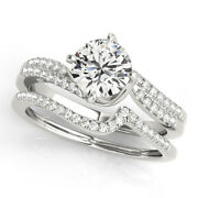 1.10 Ct Real Round Diamond Engagement Band Solid 14k White Gold Ring Size 7 8 9