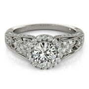1.10 Ct Real Diamond Engagement Ring 14k Solid White Gold Womenand039s Band Size 7 8