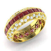 Solid 14k Yellow Gold 3.5 Ct Natural Diamond Ruby Gemstone Ring Size 5 6 7 8