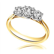 1.40 Ct Real Diamond Engagement Three Stone Ring Solid 18k Yellow Gold Band 6 7