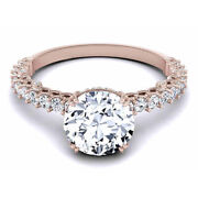 Round Solid 14k Rose Gold Band 0.80 Ct Real Diamond Engagement Ring Size 5 7 8 9