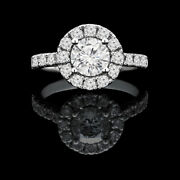 Solid 14k White Gold Band Real 1.22 Ct Round Diamond Engagement Ring Size 5 6 7