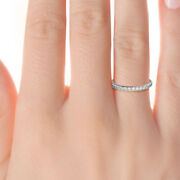 Solid 14k White Gold Eternity Band Real 1.35 Ct Diamond Engagement Ring 5 6 7 8