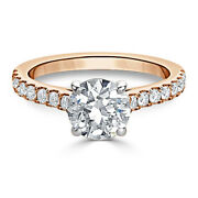 Solid 14k Rose Gold Engagement Band Round 0.98 Ct Real Diamond Ring Size 5 7 8