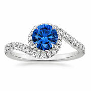 Certified 1.38 Ct Diamond Sapphire Gemstone Ring Solid 14k White Gold Size 5 7 8