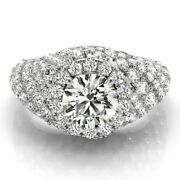 2.00 Ct Real Diamond Engagement Womenand039s Ring 14k Solid White Gold Round 5 6 7 8