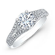 1.84 Ct Real Round Diamond Engagement Ring 14k White Gold Rings Size 5 6.5 7