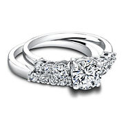 1.30ct Real Diamond Engagement Wedding Ring 14k Solid White Gold Band Set Size 5