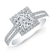 1.39 Ct Real Genuine Diamond Engagement Ring 14 K White Gold Rings Size 4 5 6 7