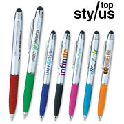 Aria Silver Stylus Ball Pens - 300 Quantity - Custom Printed With Your Logo