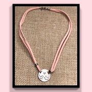 Silpada Choker Necklace Dog Cat Pink Suede Cord Animal Lover Sterling 15
