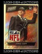 Jared Goff 2016 Panini The National Hyperplaid Draft Day Hat Nfl Patch 1/1 Rc