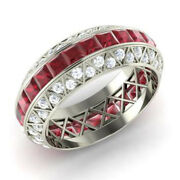 Real 14k White Gold 3.5ct Natural Diamond Ruby Gemstone Rings Size 5.5 6 8