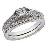 14k Solid White Gold Wedding Band Set 1.60 Ct Real Diamond Ring Size 9 8.5