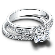 0.90ct Real Diamond Engagement Wedding Ring 14k Solid White Gold Band Set Size 8