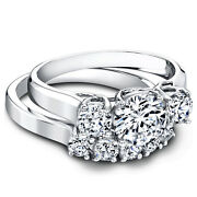 1.60 Ct Diamond Engagement Ring Real 14k Solid White Gold Band Set Certified Lab