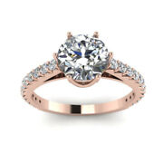 Christmas Sale Solid 18k Rose Gold 0.83 Ct Real Diamond Engagement Ring 5 7 8 9