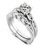 0.80ct Real Diamond Wedding Engagement Ring 14k Solid White Gold Band Set Size 7