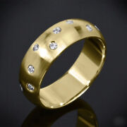 0.14 Carat Natural Diamond Wedding Menand039s Ring Solid 14k Yellow Gold Size S T U V