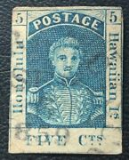 Hawaii Stamps 1853 King Kamehameha Iii 5 5c Blue Vf/xf Used H Thick White Paper