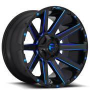 4 22x10 Fuel Wheels D644 Contra Gloss Black W Candy Blue Off Road Rims B41