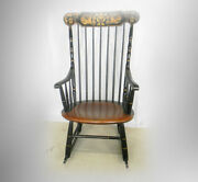 Hitchcock Furniture Tall Spindle Black And Maple Rocking Chair - Gold Stencils