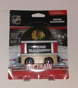 Nhl Chicago Blackhawks Collectible Toy Train Box Car W/display Stand Real Wood