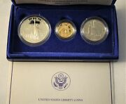 1986 Liberty Commemorative 3 Coin Proof Set - Gold And Silver - W/ Box And Coa