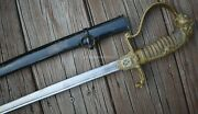 Ww1 German Lions Head Cavalry Officerand039s Sword And Scabbard Damascus Blade