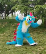2020 Blue Dragon Fox Terrier Mascot Costume Suits Cosplay Party Game Dress Ad