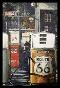 Framed Route 66 Gas Station 36x24 Retro Art Poster Vintage Gas Pumps Americana