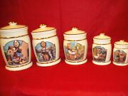 Nos Hummel Cookie Jar 4 Piece Canister Set And 16 Spice Jars From Danbury Mint