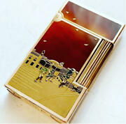 Genuine Lacquer Takamakie Dupont Gas Lighter Nihonbashi Pure Gold Used