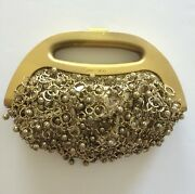 Jimmy Choo Gold Bermuda Bag Metal Beads 2950 Retail Made In Italy Suede Lined