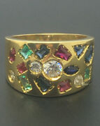 Gems And Diamond 2.16ct Dress Ring -18ct Gold 7.9g Size L Handmade Rrp Andpound3295