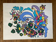 Peter Max Signed Limited Ed Vintage Psychedelic Large Cosmic 1971 Signed Zen Max