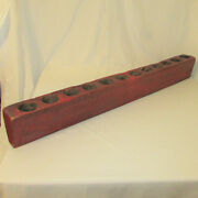 Antique Wood 12 Hole Sugar Mold Rustic Farmhouse Painted Red Great Patina
