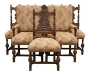 Vintage Early 20th Century Tudor Revival Carved Walnut Dining Chairs—a Set Of 6