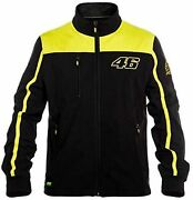 Vr46 Casual Jacket Valentino Rossi Soft Shell Zip Up Jacket Top Black Yellow