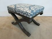 Ethan Allen Carved Mahogany X Base Vanity Bench, Stool, Foot Rest, Upholstered